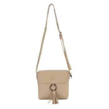 Tassel & Ring Cross Body Bag - Stone